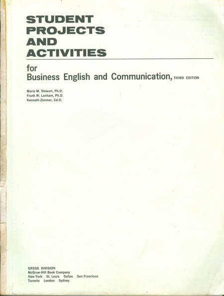 Student Projects and Activities - For Business English and Communication